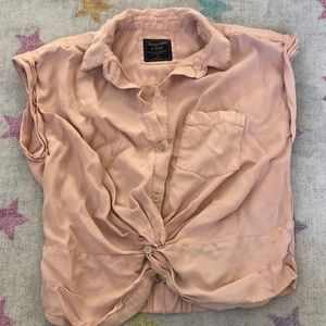 Abercrombie & Fitch pink tie crop top